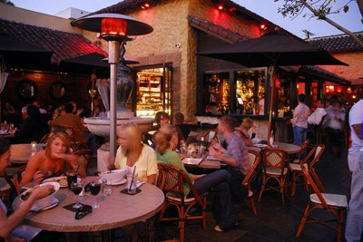 Outdoor seating with tables
