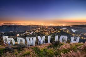 Hollywood sign surrounded by mountains