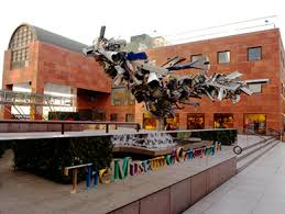 Exterior of building with modern art sculpture in front