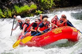 Water rafting with people