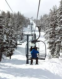 chairlifts with people with snow